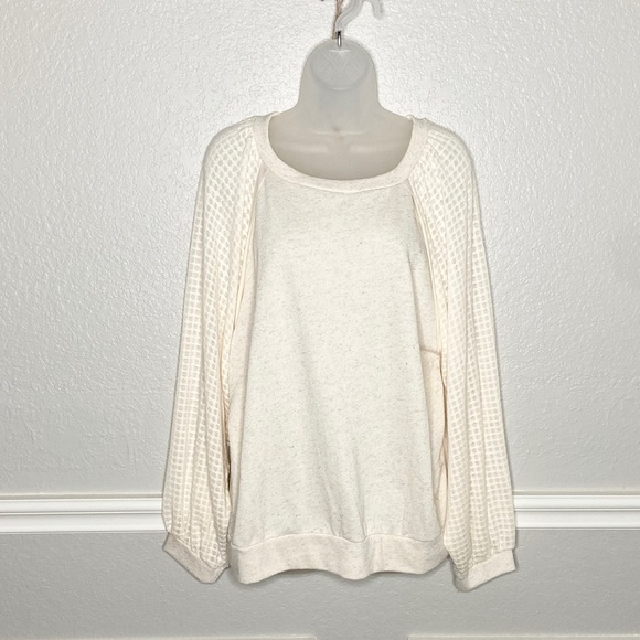 Anthropologie Tops - Pleione waffle balloon sleeve pullover sweater top